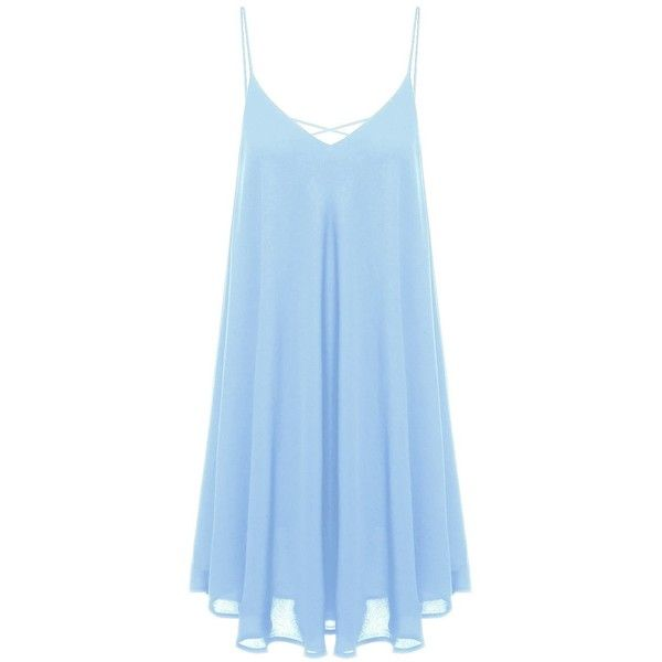 ROMWE Women's Summer Spaghetti Strap Sundress Sleeveless Beach Slip... (£11) ❤ liked on Polyvore featuring dresses, sun dresses, summer beach dresses, beach sundresses, blue beach dress and summer sundresses