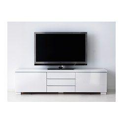 BESTÅ BURS TV bench, high-gloss white - 180x41 cm - IKEA