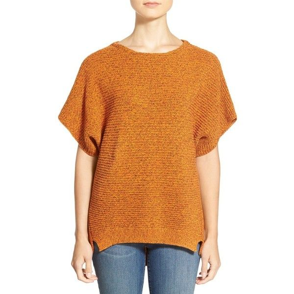 ChausDolmanSleeve Ribbed Sweater ($89) ❤ liked on Polyvore featuring tops, sweaters, dark earth, slouchy pullover, slouch sweater, dolman sleeve sweater, short sleeve pullover sweater e ribbed sweater