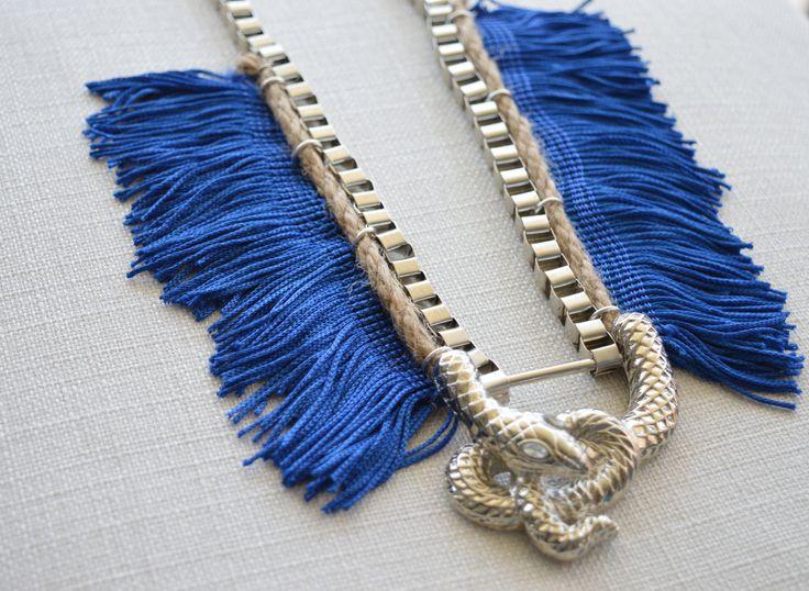Boho statement fringe necklace. Chic long necklace. Silver. Blue. by Maraisjwls on Etsy