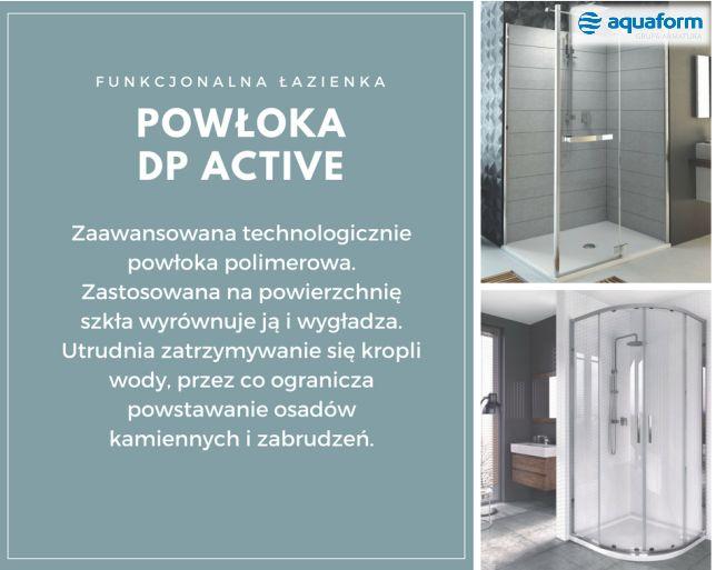 Utrzymanie kabiny w czystości może być dużo łatwiejsze, jeśli decydując się na zakup nowego wyposażenia, wybierzemy model z powłoką DP Active, która wykazując działanie hydrofobowe zapobiega osadzaniu się kamienia i znacząco ułatwia sprzątanie.#Aquaform #DPActive #czystałazienka #funkcjonalnalazienka #łazienka #bathroom #interior #wystrójwnętrz #trendy #design #kabiny #prysznic