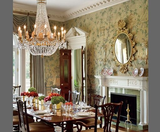 Love the wall paper, mirror and chandelier.Decor, Dining Rooms, Chandelier, Dinning Room, Interiors Design, Diningroom, House, Architecture Digest, Formal Dining Room