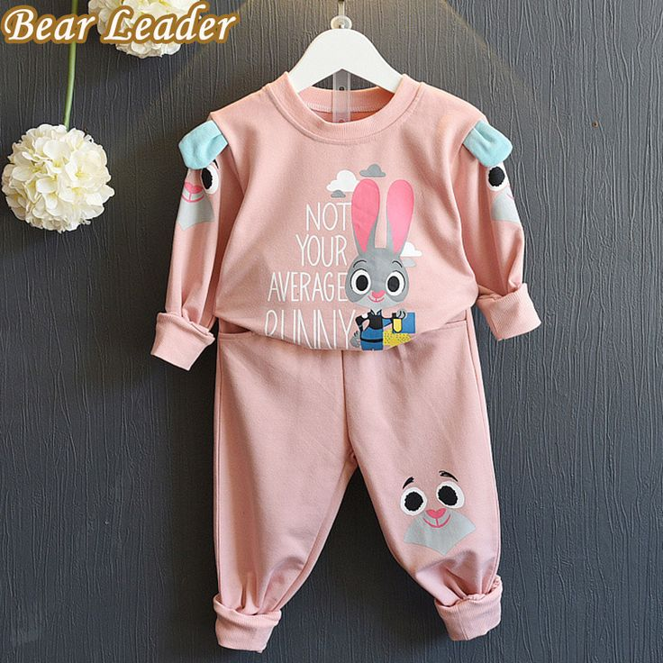 s Winter Style Girls Clothes Kids Sportswear Cartoon Cute Rabbit Sweatshirts+Pants 2pcs Suits | BBaby