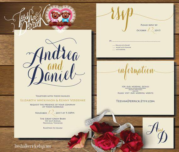 Printable Wedding Invitation Suite w0336 consists by TeeshaDerrick