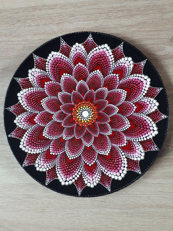 Red waterlily mandala designs. 3d dots,wall decor,door decor or table decor. Perfect idea for gift