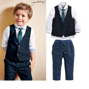 3 peças de outono 2014 crianças lazer define crianças bebê menino terno colete cavalheiro para casamentos formal
