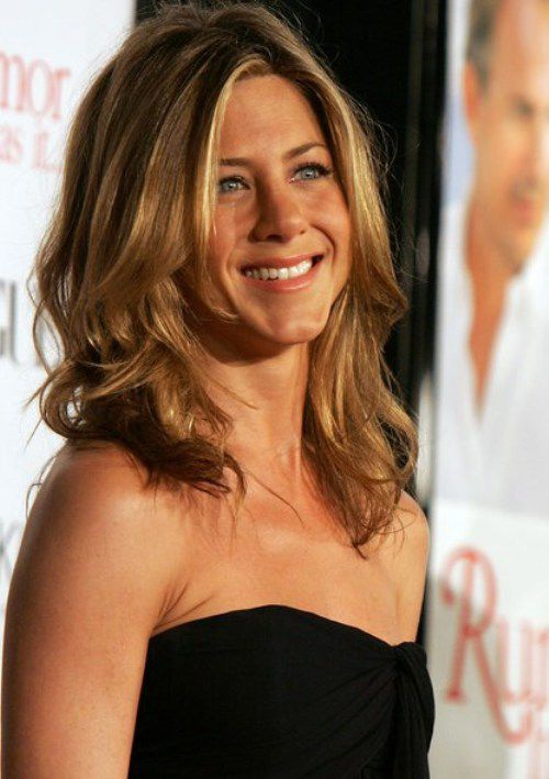 Jennifer Aniston Hairstyles - The Medium Length with Wavy Styling with Central Hair Parting