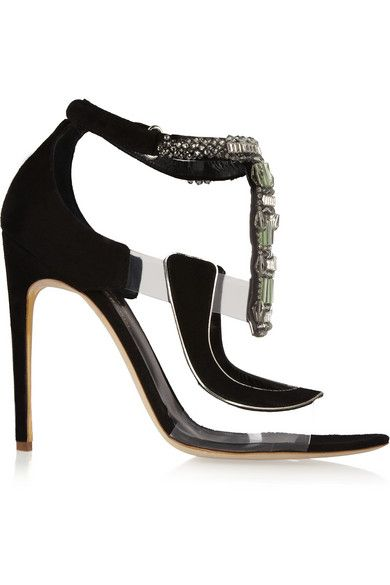 Rupert Sanderson for Antonio Berardi Heel measures approximately 110mm/ 4.5 inches Black suede Clear PVC panels, crystal-embellished T-bar, silver trims, leather insole, pointed toe, leather sole Velcro®-fastening ankle strap