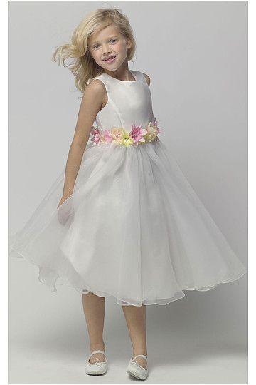 Sweet Organza Natural Zipper Knee-length Flower Girl Dresses