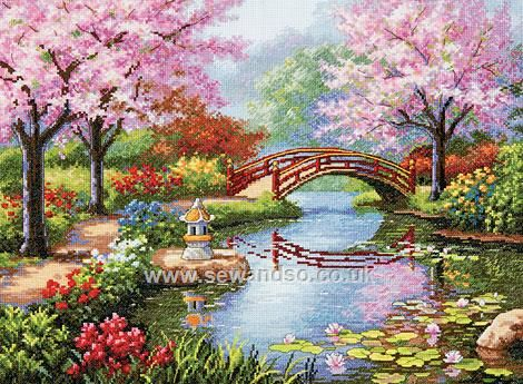 entitled japanese garden this cross stitch features cherry trees in bloom a red painted bridge water lilies and pagoda lantern - Japanese Garden Cherry Blossom Paintings