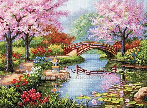 Buy Japanese Garden Cross Stitch Kit Online at www.sewandso.co.uk