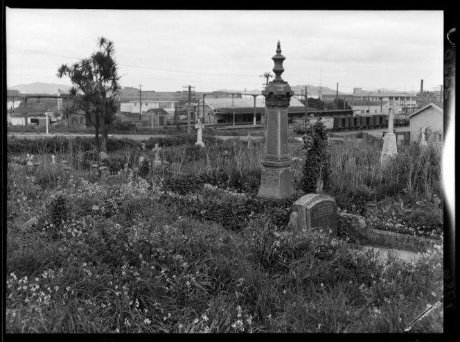 Petone cemetery, New Zealand, with the tombstone of Wiremu Tako Ngatata