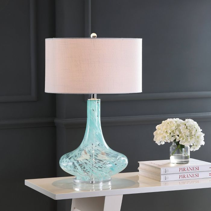 29 Glass Acrylic Montreal Table Lamp Includes Led Light Bulb Ice Blue Jonathan Y In 2021 Led Table Lamp Blue Glass Lamp Table Lamp