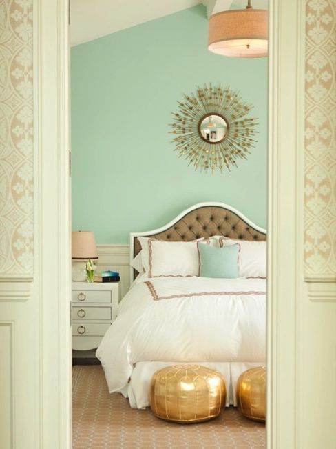 Sunburst mirror, cute headboard and lovely wall color!: Wall Colors, Mintgreen, Mint Green, Mint Wall, Paintings Colors, Colors Schemes, Gold Accent, Guest Rooms, Bedrooms Decor