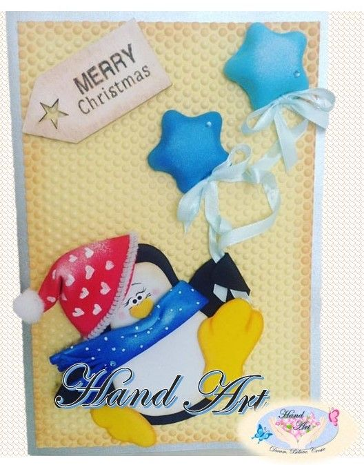Merry Christmas. Handmade craft card for Christmas. Penguin and blue starts. Eva Foam, Goma Eva, foami, foamy.