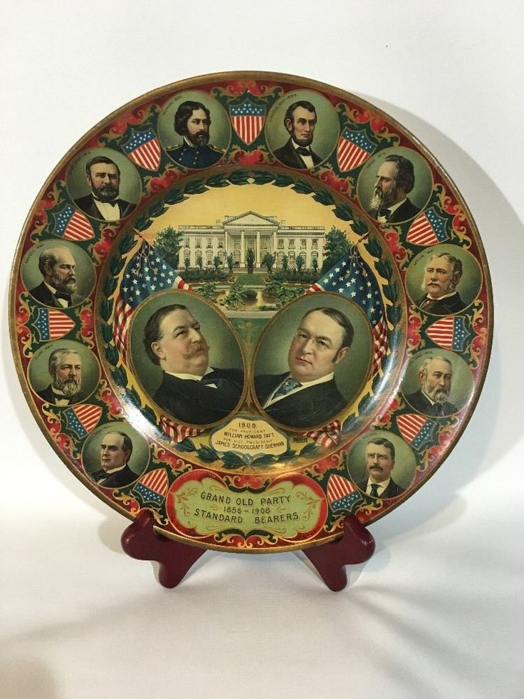 Quality 1908 Taft Sherman Jugate Chromolithograph Political Art Plate | eBay