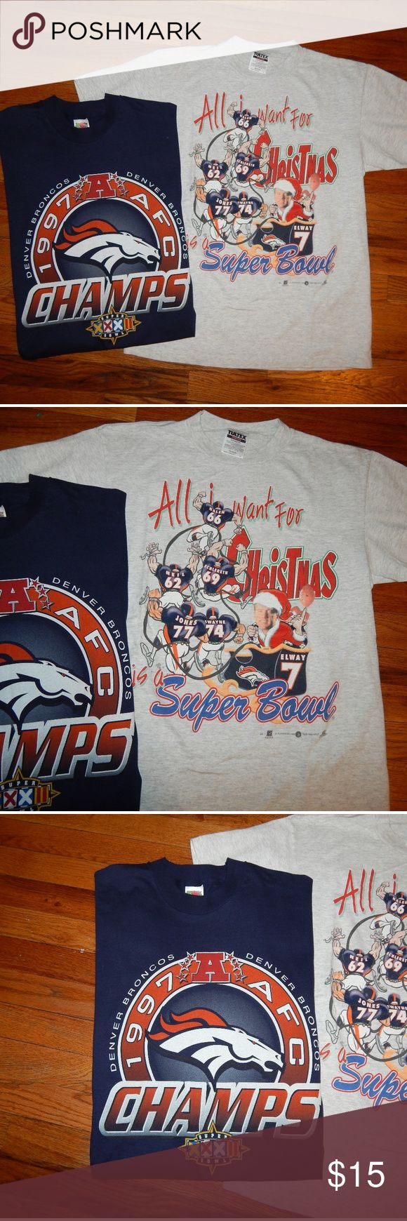 """1997 Denver Broncos T-shirt Bundle Vintage 1997 Dener Broncos 2 piece t-shirt bundle. Both pieces are men's size Medium message for measurements. The price posted is to take both of the t-shirts in the cover photo. Bundle contains:  1. Vintage 1997 Denver Broncos championship t-shirt in a very solid 9/10 condition 2. Vintage Denver Broncos John Elway """"All I want for Christmas is a Super Bowl"""" t-shirt in 8/10 condition no major flaws just minor vintage wear.   Always willing to combine bundle…"""