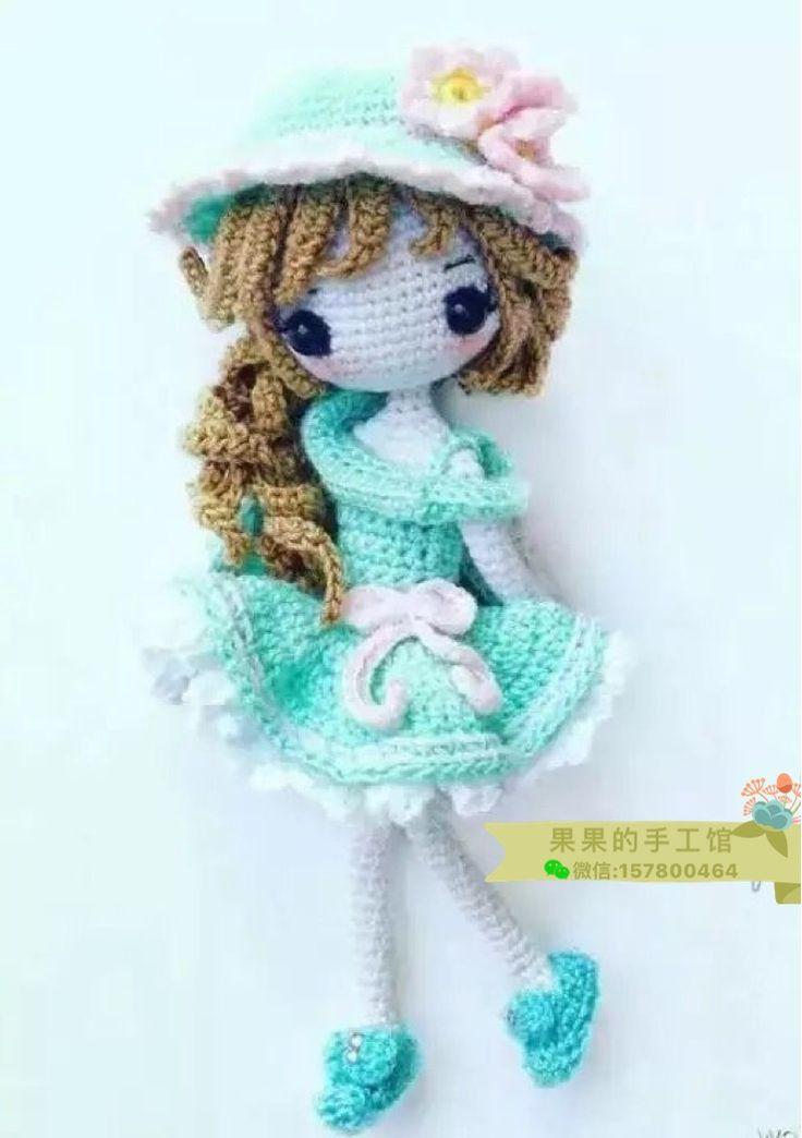 Оригинальный ручной шерсти вязания крючком куклы графический зеленый укроп милый ребенок графический девушка DIY творческие подарки учебник - глобальная станция Taobao