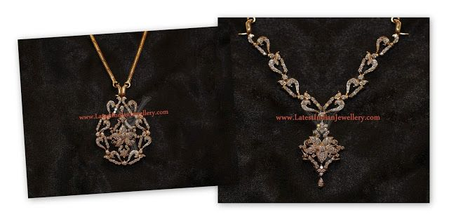 Convertible 2 in 1 Diamond Necklace cum Pendant - Latest Indian Jewellery Designs