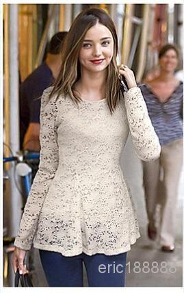 Best Women Girls Fashion Lace Flared Peplum Slinky Elegant Tops Hottie Design…