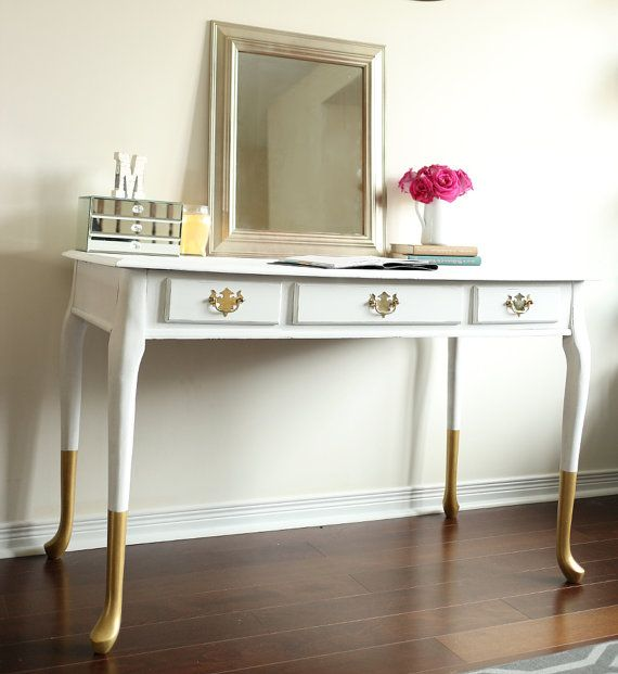 gold dipped queen anne desk vanity console table chic home office furniture