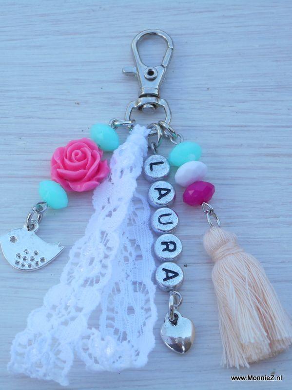 Sleutel/tashanger met naam - multicolor