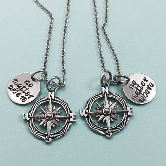 Best friend necklace no matter where compass charm by Toodaughters