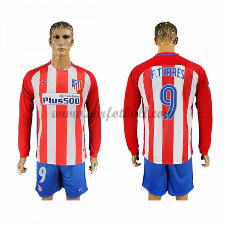 Billige Fotballdrakter Atletico Madrid 2016-17 Fernando Torres 9 Hjemme Draktsett Langermet