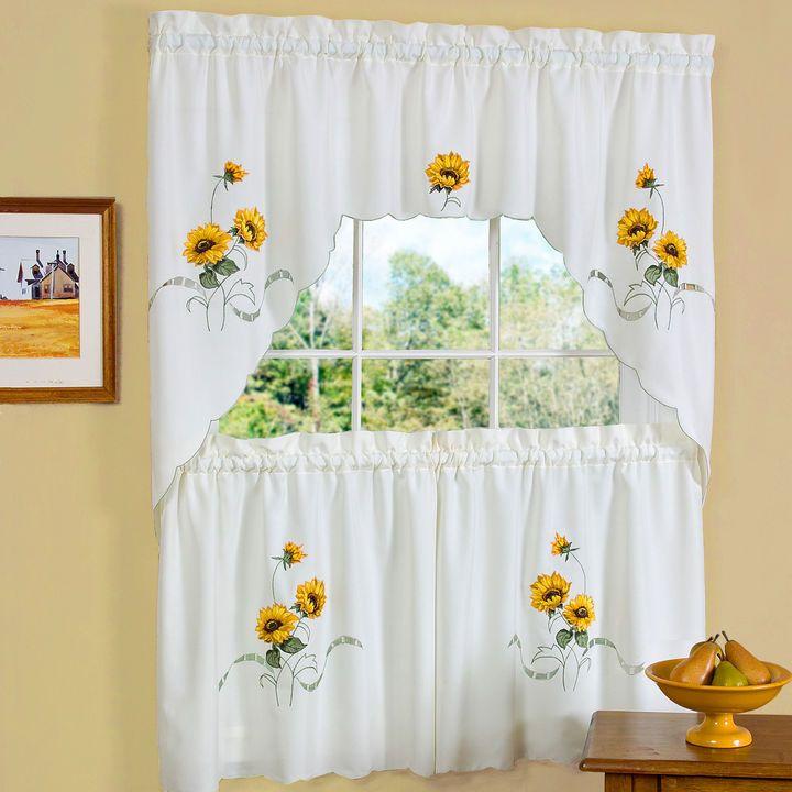 Asstd National Brand Sunshine Rod-Pocket Kitchen Curtain Set