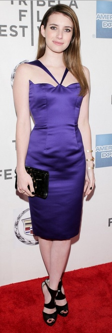 Emma Roberts: Dress – Cushnie et Ochs; Shoes – Walter Steiger; purse = Jimmy Choo; Jewelry – Isharya bracelet, and Dana Rebecca Designs