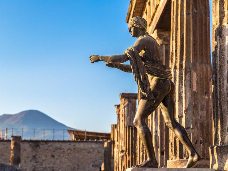 Pompeii city with Mount Vesuvius in the background