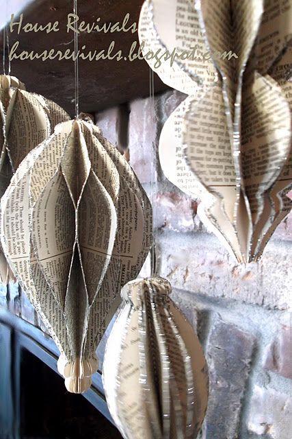 tutorial: vintage paper honeycomb ornaments
