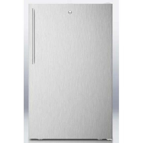 Summit 2.8 Cu. Ft. Compact Freezer - Stainless Steel Door / White Cabinet - Fs407lbisshv. The FS407LBISSHV is a manual defrost all-freezer with 2.8 cu. ft. capacity. Summit Refrigeration FS407LBISSHV Built In Freezer, Thin Handle & Lock, 2.8-cu ft, White/Stainless. Four pull-out drawers with clear fronts offer convenient storage solutions. Designed for built-in or freestanding use, the FS407LBISSHV has a white cabinet with a professional style stainless steel wrapped door and sleek...