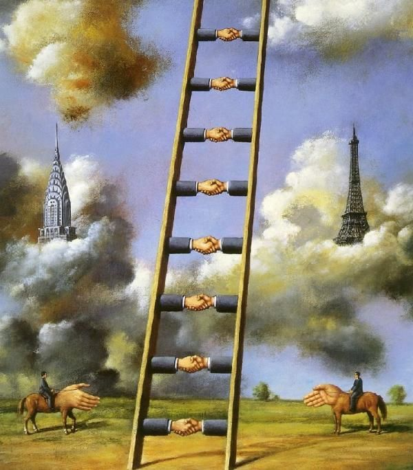 Rafael Olbinski , a polish poster artist who now lives in New York, continues the tradition of surrealism in his works.