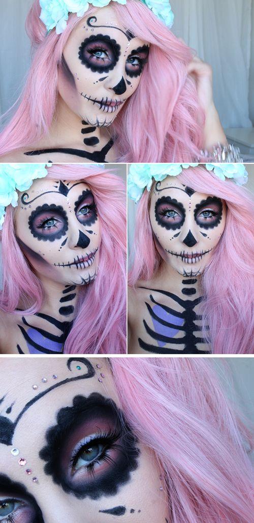 ♕Catrina♕ Maquillaje en blanco con ojos y marcas en negro. Flores en el pelo y esqueleto dibujado ♥♥