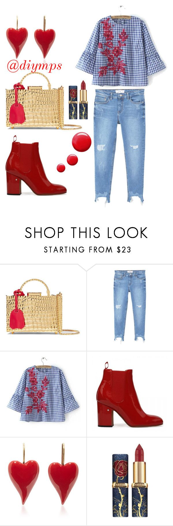 """""""Red walk, by @diymps"""" by diymps on Polyvore featuring Mark Cross, MANGO and Topshop"""