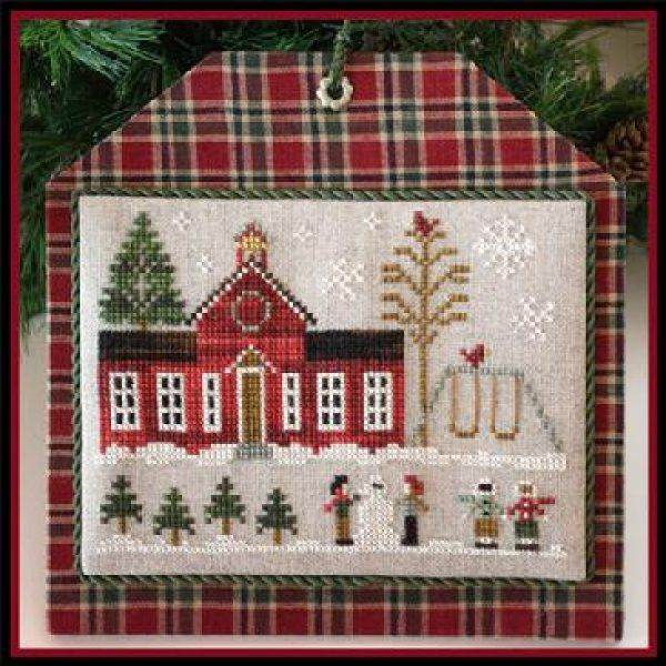 Schoolhouse is the title of this cross stitch pattern that is from Little House Needleworks' Home Holiday Series that is stitched with Classic Colorworks