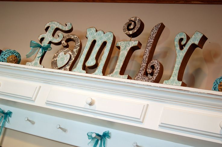 """Tutorial on how to paint and Mod Podge paper onto wood letters.  A super duper way to """"paint"""" your letters!"""