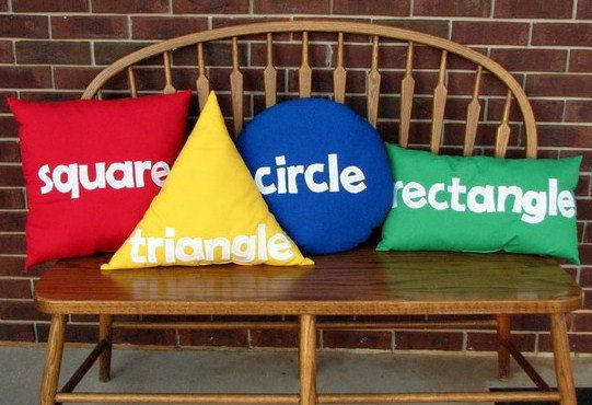 Primary color shape pillows by SweetSamantha on Etsy ....If I was still teaching in a classroom these would be a definite in my room!