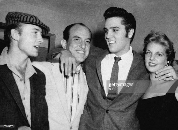 Actor Nick Adams, close friend Eddie Fadal, Elvis , and Elvis' girlfriend Anita Wood in 1958