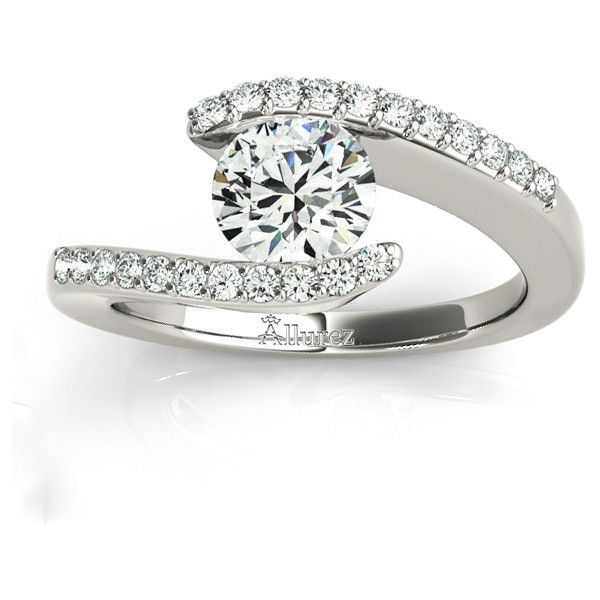 Allurez Diamond Accented Tension Set Engagement Ring Platinum (0.17ct) ($2,135) ❤ liked on Polyvore featuring jewelry, rings, platinum ring, diamond accent rings, engagement rings, twisted engagement ring and swirl ring