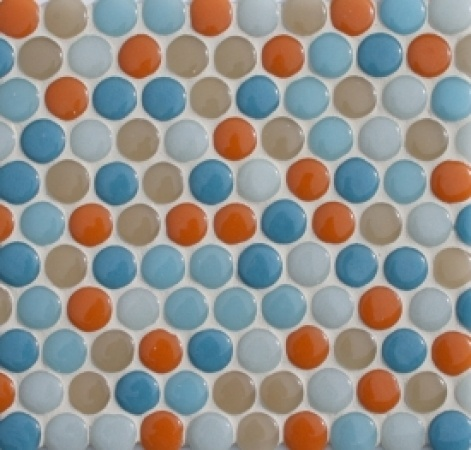 Made from 100% locally-sourced recycled glass, the Crush line of field and mosaic tiles is perfect for any eco-friendly kitchen project.     [fireclaytile.com |  penny rounds in saucily named hues like Habañero and Wall Flower]