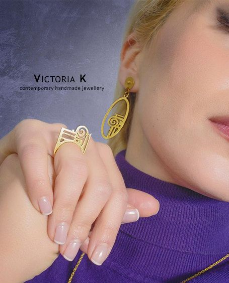 Greek Jewelry, Gold plated ring, Statement ring, Ancient ring