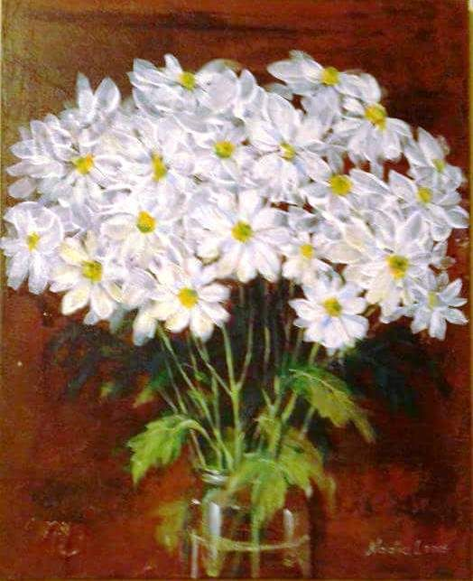 Vase with Daisy Flower painting