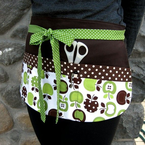 Teacher+Apron++Bright+Green+Apple+&+Chocolate+Brown+by+Foodphyte,+$27.50
