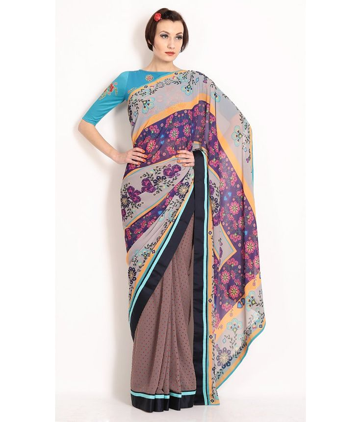 Nida Mehmood Digital Printed Saree In Wgtless Georgette With Flocked Polka Dots, http://www.snapdeal.com/product/nida-mehmood-digital-printed-saree/1660920691