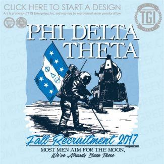Phi Delta Theta | ΦΔΘ | Astronaut | Fall Recruitment | Rush | Moon | TGI Greek | Greek Apparel | Custom Apparel | Fraternity Tee Shirts | Fraternity T-shirts | Custom T-Shirts