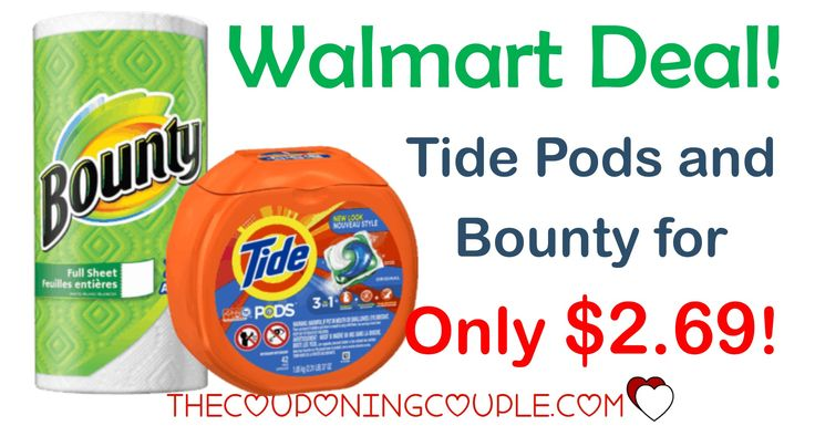 HOT HOT HOT! FREE Bounty Paper Towels and Tide Pods for only $2.69 with a Walmart deal! Print your coupons NOW!  Click the link below to get all of the details ► http://www.thecouponingcouple.com/free-bounty-paper-towels-wyb-tide-pods/ #Coupons #Couponing #CouponCommunity  Visit us at http://www.thecouponingcouple.com for more great posts!