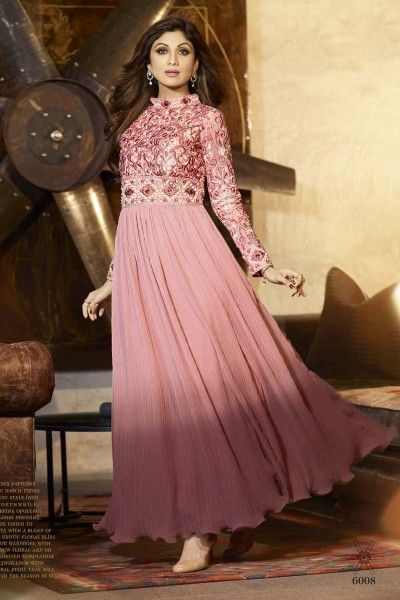 Shilpa Shetty Suit-Peach Faux Georgette #Anarkali #Suit with Embroidered and Stone Work - Rs4,399. #zohraa