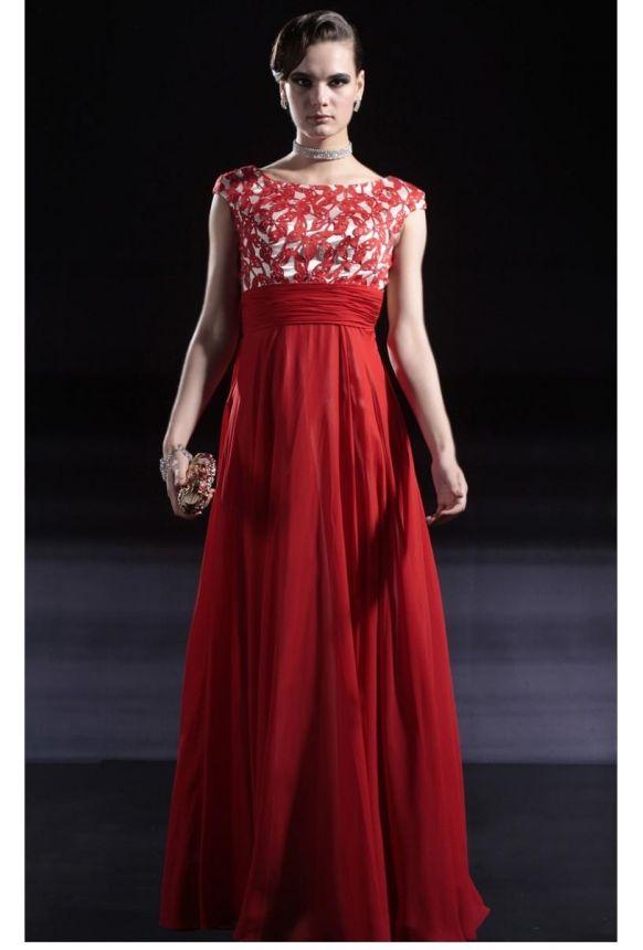Sexy Red Estilo Imperio vestido de noche con cortes de la mariposa [EDL-11M08-CNX-56616] - €165.34 : Es.udresses.co.uk